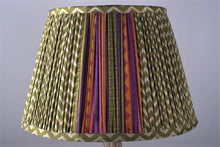 Load image into Gallery viewer, Green zigzag with bright pallu silk lampshade