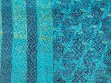 Load image into Gallery viewer, Green and Turquoise Kantha Quilt KA1918