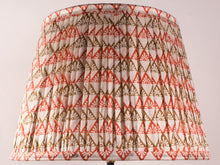Load image into Gallery viewer, Cream Orange and Olive Silk Lampshade
