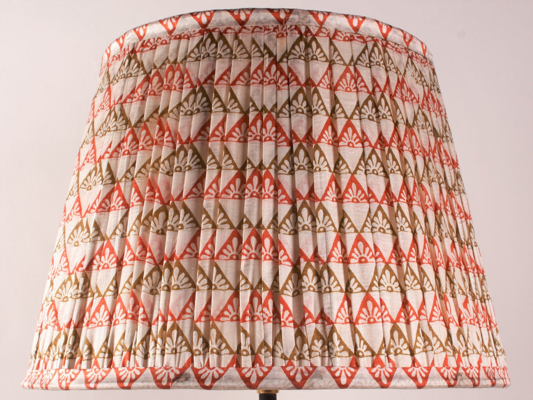 Cream Orange and Olive Silk Lampshade