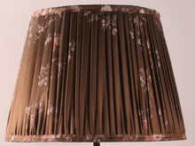 Load image into Gallery viewer, Chocolate with Pink Floral Silk Lampshade