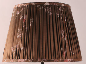 Chocolate with Pink Floral Silk Lampshade