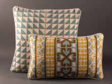 Load image into Gallery viewer, Chartreuse Turquoise And Cream Kashmiri Crewel Cushion