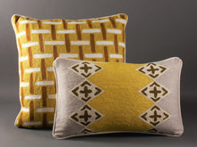 Load image into Gallery viewer, Chartreuse Grey And Cream Kashmiri Crewel Cushion