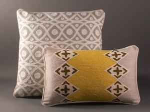 Chartreuse Grey And Cream Kashmiri Crewel Cushion