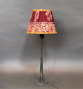 Brown & red batik silk lampshade