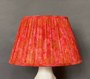 Vermillion paisley silk Lampshade