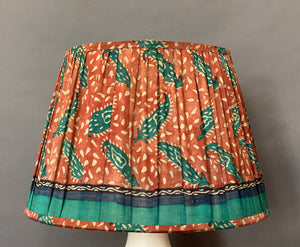 Terracotta and teal paisley & pallu silk lampshade