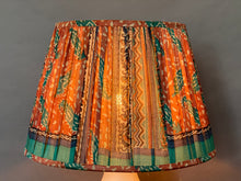 Load image into Gallery viewer, Terracotta and teal paisley & pallu silk lampshade