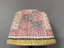 Load image into Gallery viewer, Grey with teal/pink pattern & gold border silk lampshade