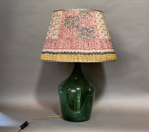 Grey with teal/pink pattern & gold border silk lampshade