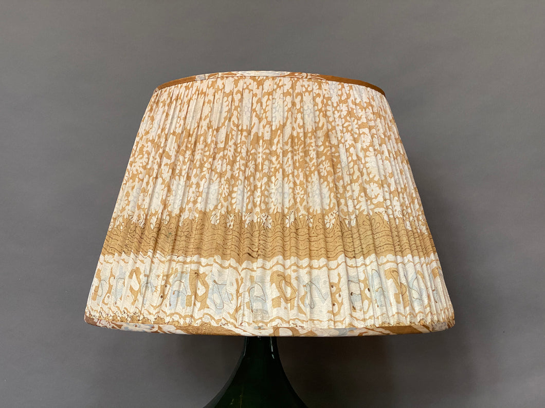 Gold, white and blue silk lampshade