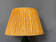 Load image into Gallery viewer, Bright yellow and blue silk lampshade