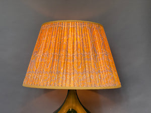 Bright yellow and blue silk lampshade