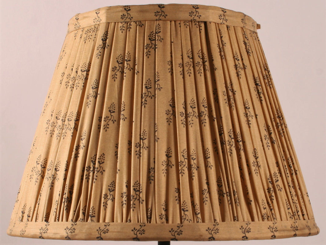 Sand and Black Floral Silk Lampshade