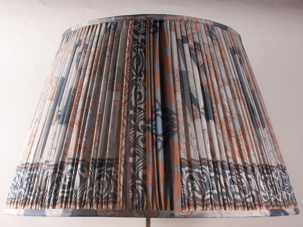 Shades of Blue with Dusty Pink Silk Lampshade