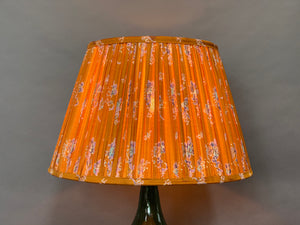 Mustard and blue floral silk lampshade