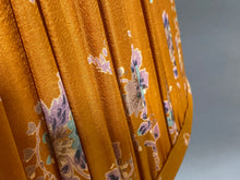 Load image into Gallery viewer, Mustard and blue floral silk lampshade