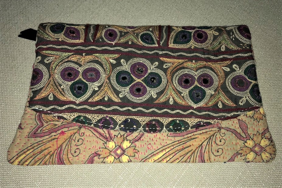 Green And Purple Vintage Clutch Bag