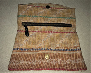 Brown And Ochre Vintage Clutch Bag