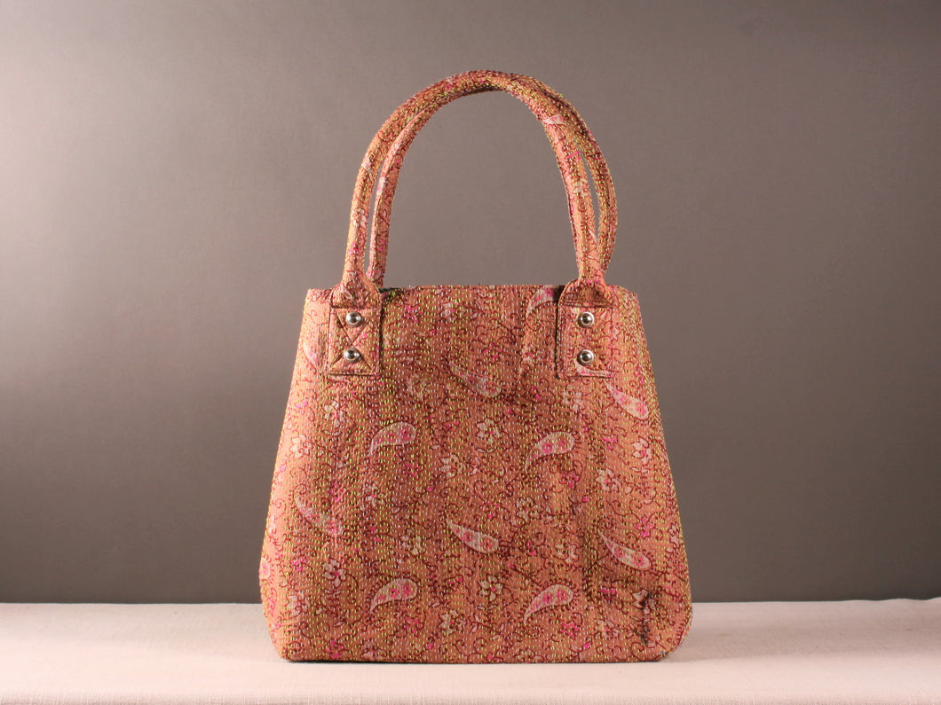 Pink Kantha Silk Dog Bag