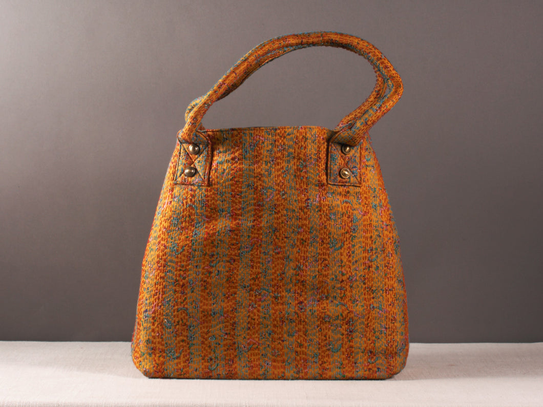 Yellow with Blue Kantha Silk Dog Bag