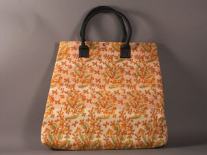 Cream Ochre and Green Kantha Cotton Dog Bag