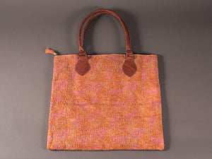 Orange and Pink Kantha Cotton Dog Bag