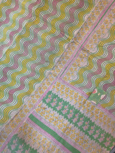 Yellow and pink Kantha Quilt