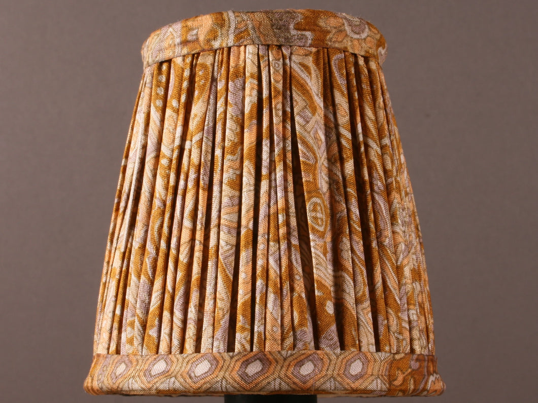 Old Gold Patterned Silk Lampshade