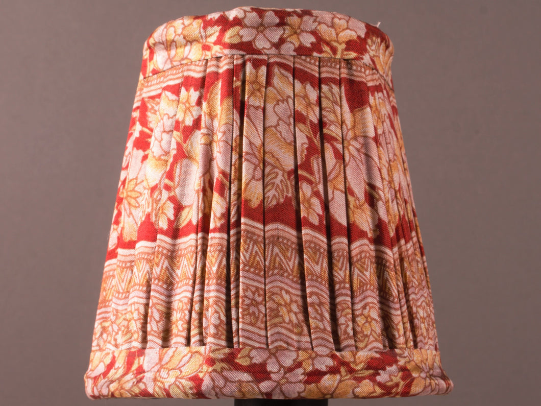 Red with Cream and Yellow Bordered Floral Silk Lampshade