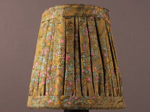 Moss Green with Pink and Blue Silk Lampshade