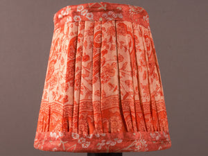 Salmon Pink and Cream Silk Lampshade