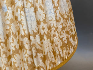 Gold white and blue silk Lampshade