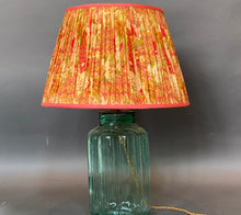 Load image into Gallery viewer, Pale gold and red floral silk lampshade