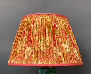 Pale gold and red floral silk lampshade