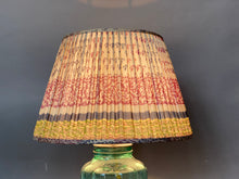 Load image into Gallery viewer, Grey teal and pink with border silk lampshade