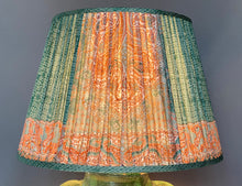 Load image into Gallery viewer, Teal & Coral Silk Saree Lampshade