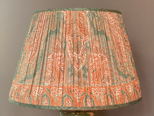 Teal and Coral Paisley Silk Saree Lampshade