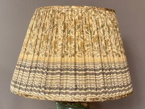 Sage Yellow and Grey silk saree lampshade