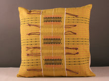 Load image into Gallery viewer, Acid yellow hand woven cushion
