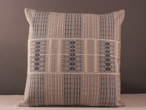 Cream, Grey and Blue Square Cushion