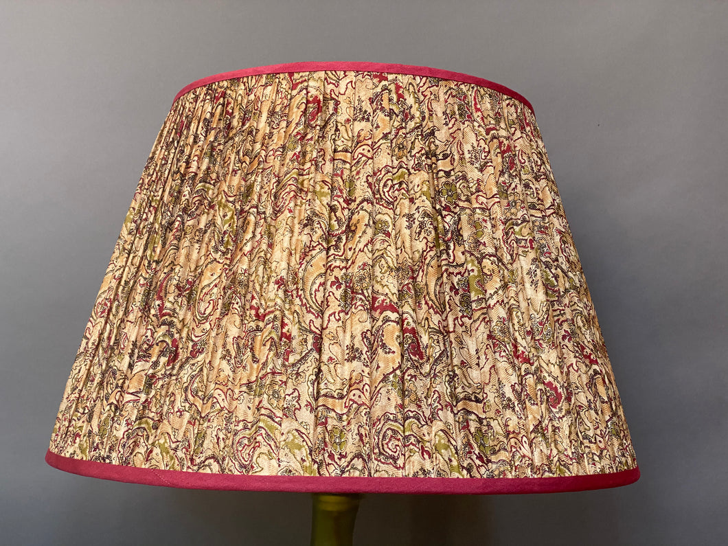 Cream raspberry and olive silk lampshade