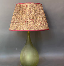Load image into Gallery viewer, Cream raspberry and olive silk lampshade