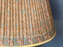 Load image into Gallery viewer, Old gold with teal and paisley silk lampshade