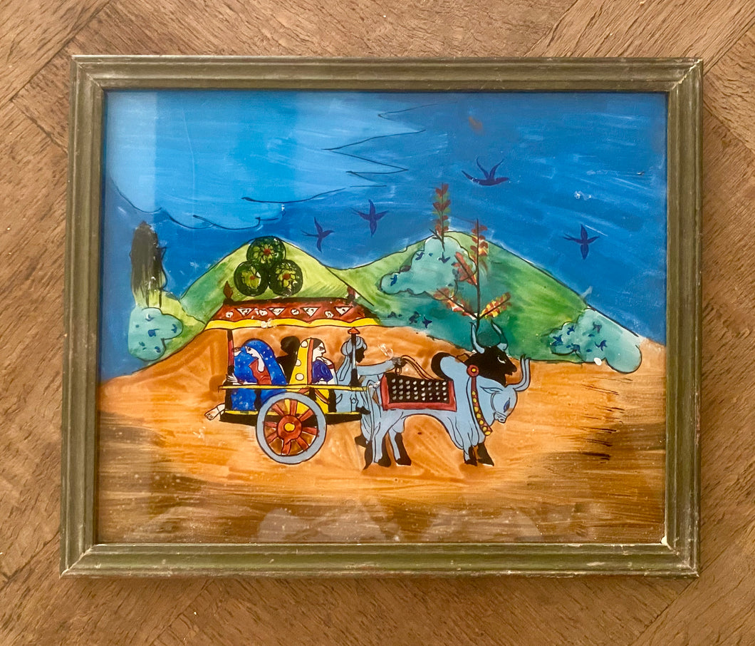 Indian Scene Medium Glass Painting