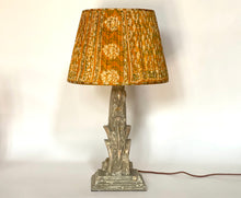 Load image into Gallery viewer, Yellow paisley silk saree lampshade