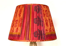 Load image into Gallery viewer, Orange and raspberry paisley with pallu silk lampshade
