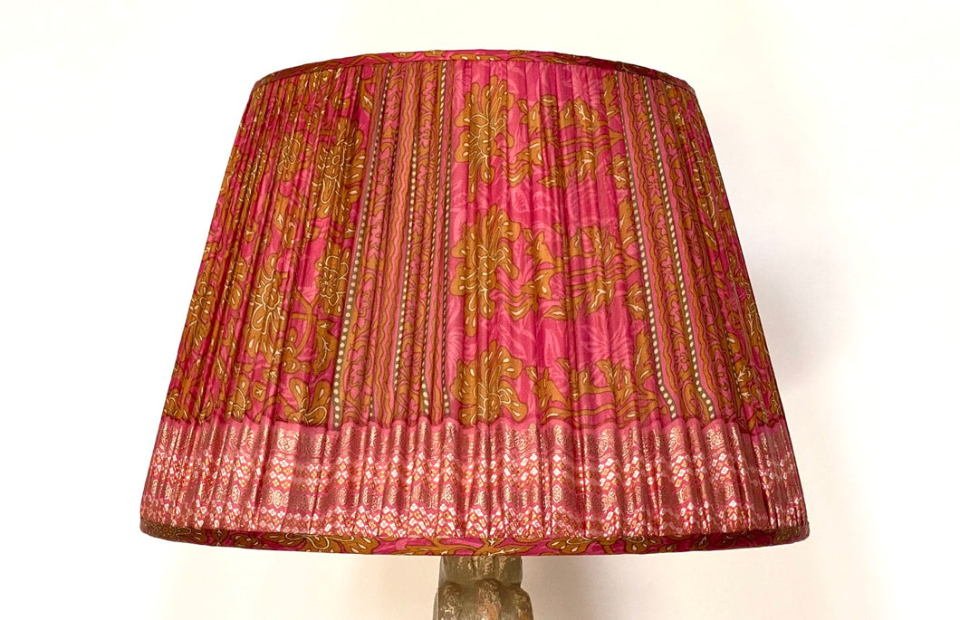 Pink and ochre paisley silk lampshade