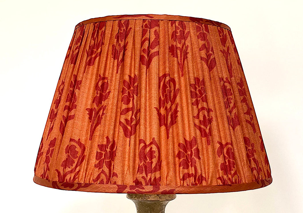 Orange and raspberry paisley with pallu silk lampshade